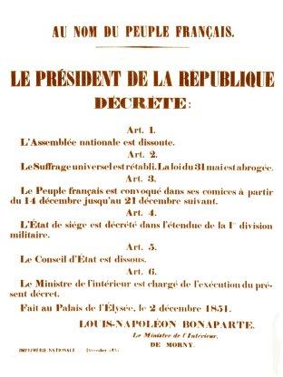 Affiche proclamant le coup d'Etat, placardée sur les murs de Paris au matin du 2 décembre 1851.