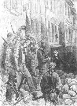 13 juin 1848. François Arago haranguant les insurgés. Les représentants du peuple s'étaient rendu, ce jour là, de la rue du Hazard au conservatoire des Arts et Métiers, afin de dissuader les ouvriers de prendre les armes et éviter un bain de sang.