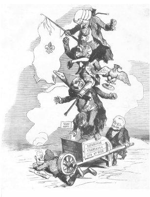 """La composition de l'Assemblée vue par Bertall, en novembre 1849. """"Majorité unie, vigoureuse et compacte que conduit si bien l'honorable M. Thiers."""""""