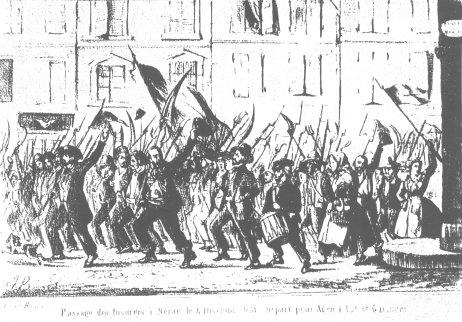Passage des insurgés à Nérac le 4 décembre 1851. Départ pour Agen (gravure signée A.B., publiée dans Revue de l'Agenais, 1975, p. 381)