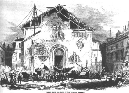 """La démolition de la """"salle de carton"""", dessin publié dans l'Illustrated London News, 3 janvier 1852"""