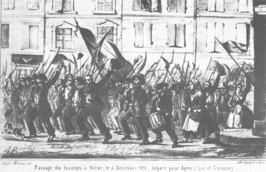 Passage des insurgés à Nérac, le 4 décembre 1851. Départ pour Agen