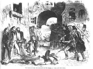 Exécution sommaire d'insurgés dans les rues de Paris, dessin publié dans L'Illustrated London News du 20 décembre 1851
