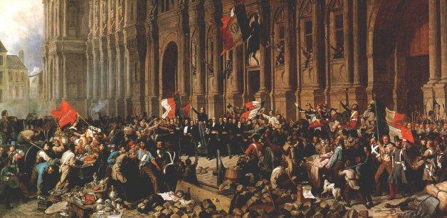 Le 25 février 1848, devant l'Hôtel de Ville de Paris. Peinture de H.F. Philippeaux, 1848, Musée du Petit Palais, Paris