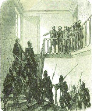 Les représentants sont expulsés de la mairie par la police. Ils sont emprisonnés à la caserne d'Orsay, située à l'emplacement de l'actuel Musée d'Orsay, puis transférés à Mazas.