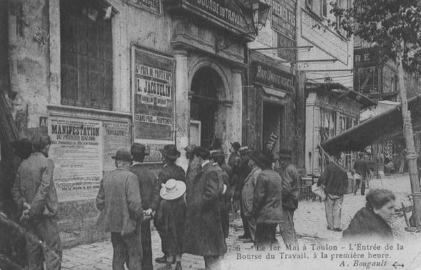 1er mai 1906. Bourse du travail à Toulon - collection Gilbert Suzan
